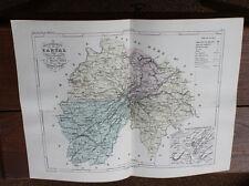 1850 Carte Géographique Atlas époque couleur Département 15 Cantal Aurillac
