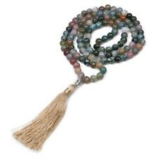 Natural Indian agate stone 6mm beads necklace long chain jewelry Mala yoga
