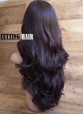 Dark Brown mix Dark Auburn 3/4 Wig Long Wavy Curly Layers Half Wig 303-2/33