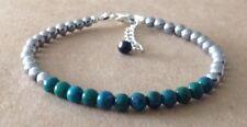 Plated, Friendship Bracelet Chrysocolla+Silver Hematite Beads, Silver