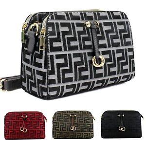 Ladies Women's Printed Crossbody Bag 3 main compartments Messenger Shoulder Bag