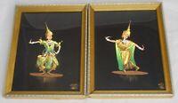 Vtg Siam Thailand Original Paintings Man Woman Dancers Oil on Silk Framed Signed