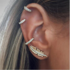 4pcs/set New Women Rhinestone Ear Clip Leaves Feather Earrings Ear Stud Jewelry