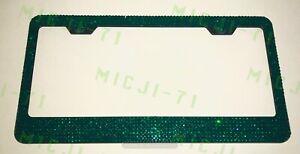 7 Rows Green Bling License Metal Frame Holder Made W Swarovski Crystals