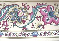 WALLPAPER BORDER Beige Wine Green Blue Floral Traditional Jacobean EH99746 NEW