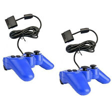 2x New Wired Game Controller for Sony Playstation2 PS2 Gamepad Blue by BAB