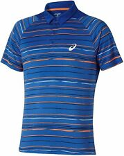Asics Men's Polo Shirt Club Graphic Short Sleeve Tennis Polo - Blue - New