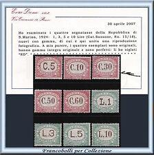 1924 San Marino Segnatasse Serie n. 10/18 Certificato Diena Nuovi Integri **