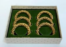 Vintage Napkin Rings / Holders Set of 6 Brass / Gold Color Metal Twisted Rope