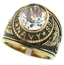 Clear Stone Navy US Military Gold EP Stainless Steel Mens Ring