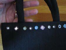 Small Black Purse Silk-Look Mirrors Beads Bag Evening or Childrens Pandamerica