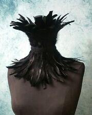 Feather neck corset,  steampunk choker,  black neck piece,  feather necklace