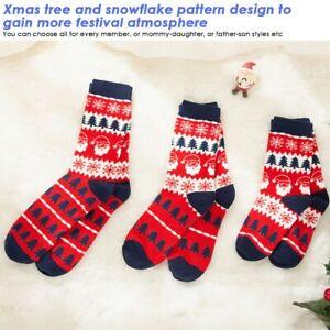 1 Pair Parent-Child Christmas SocksXmas Tree Snowflake Socks Combed Cotton Sock