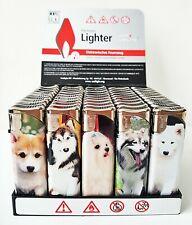 50 x Electronic Lighters Refillable Adjustable Flame In 5 Designs Pictures Dogs