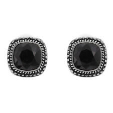 Bohm - Earrings Square - Swarovski Crystal - Clips - Deep Black