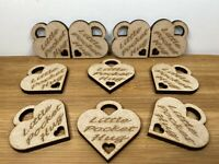 10no Little Pocket Hug Tags. Hearts Laser Cut & Engraved.  With Small Heart Cut
