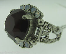 Sorrelli Crimson Pride Ring RCQ43ASCP antique silver tone