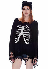 Wildfox Black Sparkly Sequin Skeleton Ribcage Lennon Distressed Sweater XS