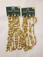 2 Strands Vintage Bead Garland Multi Color w/ Gold Star Plastic 18' Pretty