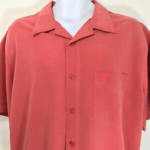 Solitude Camp Shirt Salmon Red Modal Rayon Blend Mens Large
