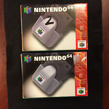 TWO NINTENDO 64 RUMBLE PAK EMPTY OUTER BOXES ONLY: NO ACCESSORY/INSERT OR PAPERS