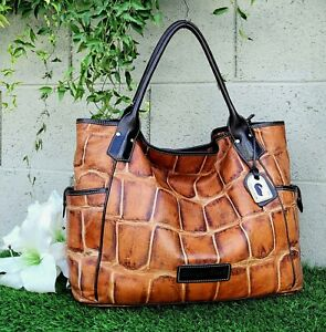Dooney & Bourke LRG KRISTEN Croco leather cognac Tote Purse shoulder bag handbag