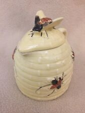 "VTG Majolica ""BEE HIVE"" Yellow Honey Pot Pitcher Creamer Syrup"