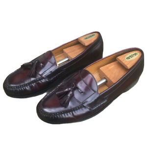 Cole Haan Men Sz 11 Burgundy Leather Tassel Loafer Moc SlipOn Shoe Leather Soles