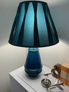 Vintage Pottery Bitossi Aldo Londi Italian Blue Glazed Lamp & Retro Shade