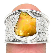 Ethiopian Opal Rough 925 Sterling Silver Ring Jewelry s.9 RR67211