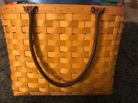 2001 Large Longaberger Boardwalk combo basket leather handles liner laundry