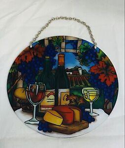 "Joan Baker Designs Art Glass Suncatcher Wine Country Cheese Grapes 6-1/2"" New"
