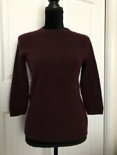 Talbots 100% PURE CASHMERE MERLOT WINE Pullover Sweater 3/4 Sleeve Medium M