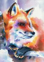 Fox watercolour painting Original fox art Colorful animal art Wildlife Wall art.