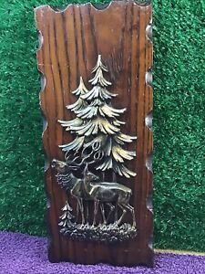 Wooden Plaque With 3D Forest And Reindeer Detail Vintage Retro Home Decor