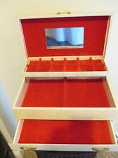 VINTAGE OFF WHITE JEWELRY BOX FAUX LEATHER RED VELVET 3 TIER LARGE CASE