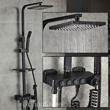 Square Matte Black Thermostatic Rain Shower Head Bath Mixer Faucet Tap Tub Set