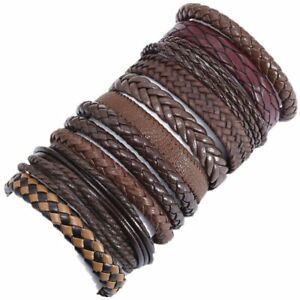 MEN'S WOMEN'S REAL LEATHER BRAIDED SURF SURFER BRACELET WRISTBAND BROWN