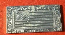 U.S. National Flag Bar 1973 by The Silver Mint 20 Grams.999 Fine Silver