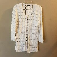 Dolce Cabo Women's White Crocheted Long Sleeve Button Front Cardigan