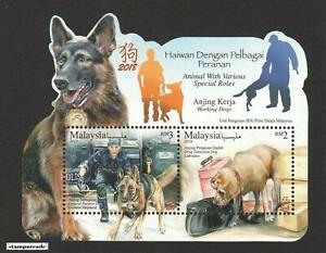 Malaysia 2018 Year of Dog Working Animals Police die Cut Miniature Sheet