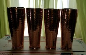 """4 8"""" tall Double Walled Copper Tumblers Stainless Steel Interior"""