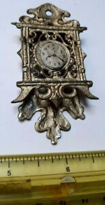VINTAGE VICTORIAN GERMAN FRENCH DOLL DOLLHOUSE SOFT METAL WALL CLOCK ACCESSORY