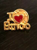 Vintage I Love Bingo Heart Pinback Lapel Pin Hat Pin Metal Gold Tone Red