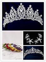 Bridal Wedding Crystal Flower Tiara Crown Pearl Rhinestone Hair Band Headband UK