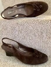 Gorgeous Gabor Size 4.5 Brown Leather Women's Shoes Sling Back Low Wedge