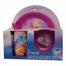 MY LITTLE PONY CHILDREN 5PC BREAKFAST LUNCH SET SAFE PLASTIC PICNIC DINING