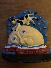 """Cast Iron Doorstop """"The Cow Jumped Over The Moon"""" marked Unknown kids room"""