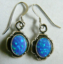 Sterling Silver 925 Blue Opal Charming Dangle Earrings New