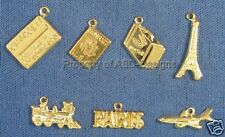 105pc Gold Plated Paris Vacation Travel Lot Charms 5624